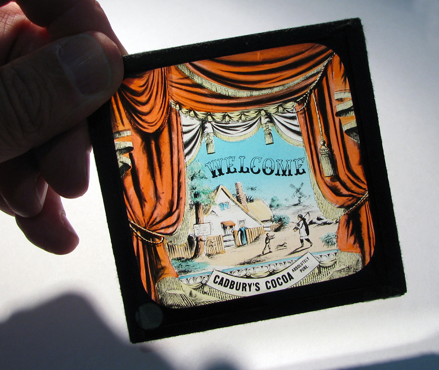 Cadbury's 'Welcome' magic lantern slide