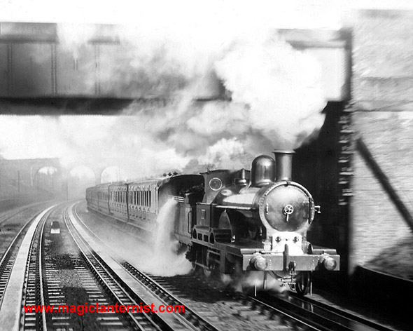 Dramatic early photograph of a steam train in Bushey