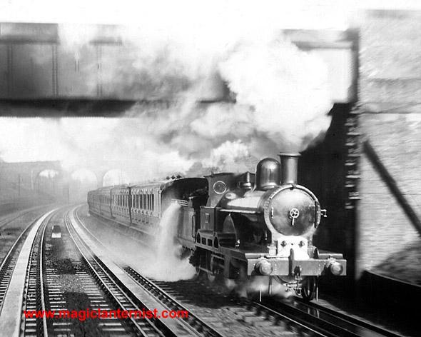 Dramatic early photograph of a steam train inBushey